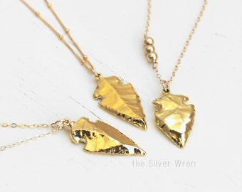 Long Necklace, Arrowhead Pendant Necklace, Long Gold Necklace, Boho Necklace, Gold Arrowhead Necklace, Layering Jewelry, Layering Necklace