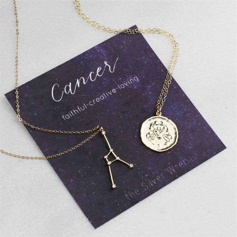 Cancer Zodiac Gift For Her July Birthday Gold Necklace