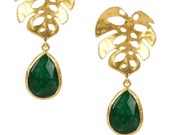 Monstera Earrings with Green Drop Jades prepared with sterling silver coated 18K gold, long earrings, green drop earring, big leaf earrings