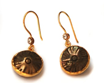 Pyrite Earrings with Zirxonium touch