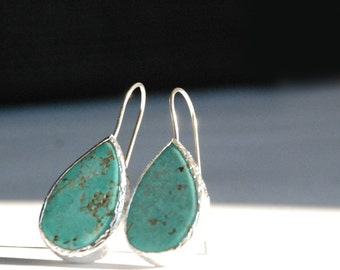 Turquoise Drop Silver Earrings, turquoise dangle, turquoise drop, turquoise earrings, turquoise teardrop, drop earrings, sterling silver