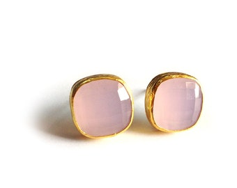 Pink Square Silver Stud Earrings coated in Gold