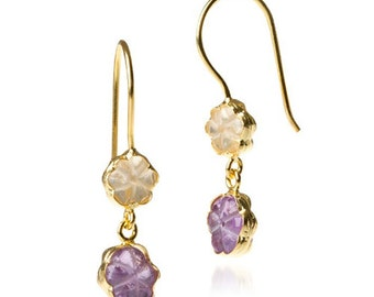 Flowers from my Garden Citrine and Amethyst Earrings