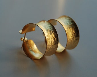 Gold Coated Hammered Thick Hoop Silver Earring, made with silver coated in 18K gold, hammer gold hoop earring, big handmade hammered hoops