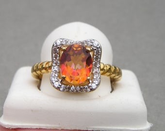 Beautiful Chuck Clemency STS Gold over Sterling 925 Brown Topaz Cocktail Ring size 10