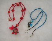 lovely Italian Murano Glass Crystal 3D Fish Seahorse Red Blue Toggle Necklaces Lot