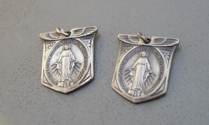 Two Religious Mother Mary Winged Military Protective Guardian Angel Medal Lot
