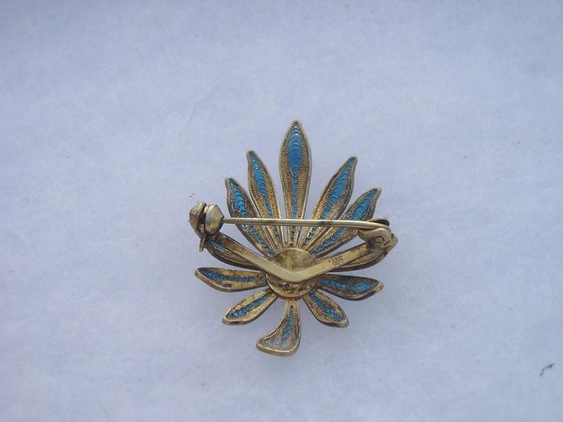 Beautiful 900 Silver Filigree Blue Enamel /& Coral Flower PIn Brooch