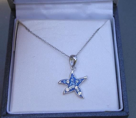 Pretty Sterling 925 Swarovski Crystal Star Pendan… - image 1