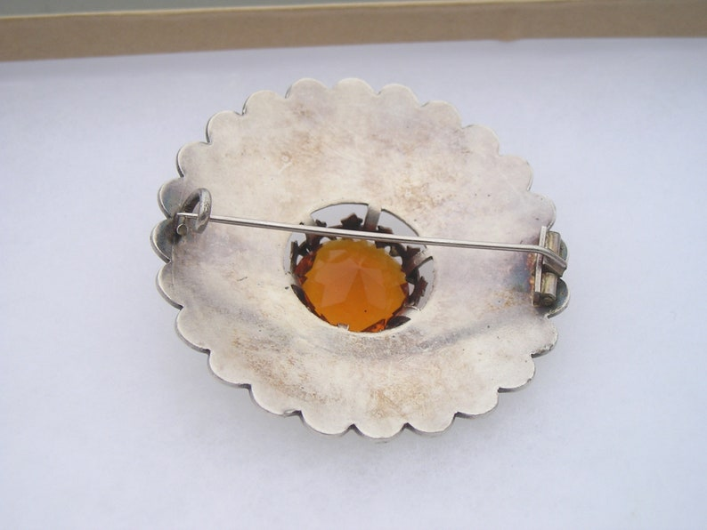 Antique Scottish Celtic Large Citrine Topaz Colored Etched Thistle Silverplated Kilt Pin