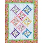 PINWHEEL POSIES Quilt Pattern - B J Q 115 --- Printable Pdf E-Pattern Diy Free Shipping Digital Pattern Pink White Yellow Blue Green Purple