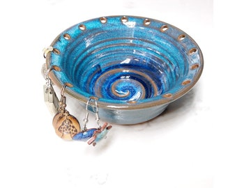 Jewelry organizer, earring display, handmade pottery in Turquoise
