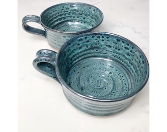 Stoneware soup cup in Pete's Dragon Green FREE shipping