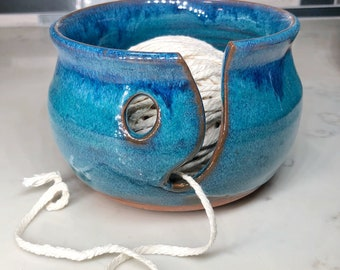 Turquoise and blue yarn bowl (ships free)
