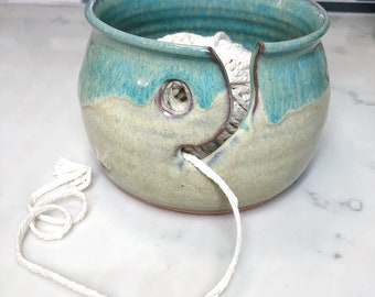 Tan and Turquoise Pottery yarn bowl (ships free)