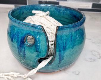 Emerald Green Pottery yarn bowl (ships free)