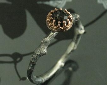 Two Tone Twig Ring Smoky Quartz Band Rose Gold Crown Ring Crown Setting Ring Rose Gold and Silver Band Twig Ring Silver Branch Band the Anna