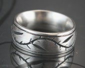 Pinstripe Thymes Ring Carved and Cast Solid Sterling Silver Wedding Ring with Vine - Leaves and Thorns -Comfort Fit and Custom Made to Size