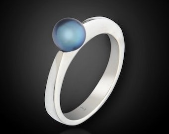Modern Pearl Ring--Hand Carved and CastSolid Sterling Silver Elegant Genuine Fresh Water Pearl Ring--Made to Size--Blazer Arts