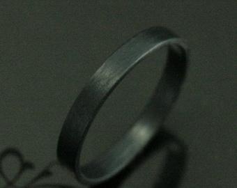 3mm Black Band Flat Ring Oxidized Silver Band Black Silver Ring Flat Black Ring Alternative Band Gothic Ring Matte Black Ring Plain Black