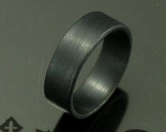 Basic Black Band--7mm Flat Black Oxidized Sterling Silver Men's Wedding Band--Black Silver Ring--Simple Black Band--Modern Wedding Band