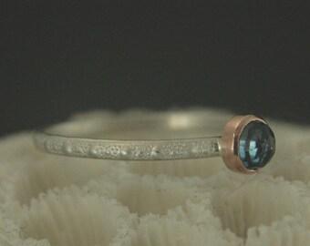Blue Topaz Stacking Ring--Rose Cut Stone--London Blue Topaz--Urchin Stacker--Beach Boho Ring--Beach Ring--Beach Jewelry--Mermaid Ring