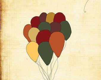 Nursery Art Print - The One That Got Away- 5x7 Illustration, balloons, colors, nursery decor, playroom