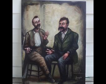 The Conversation, Original Painting, Two Gentlemen, Animated Talking, Hand Gestures, Debate, Discussion, Vintage Gentlemen, Moustaches