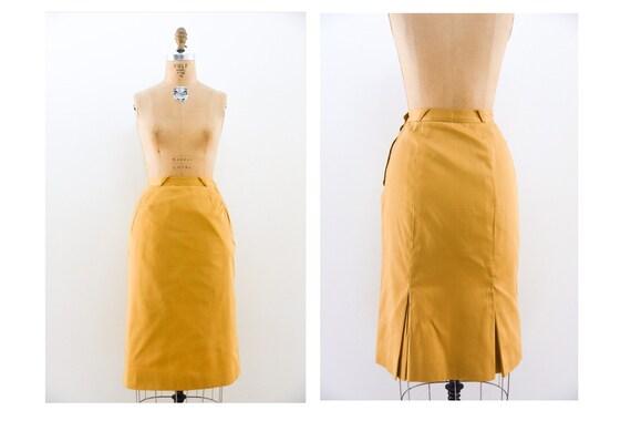 Vintage 40s skirt / 1940s Mustard Yellow Pencil Sk