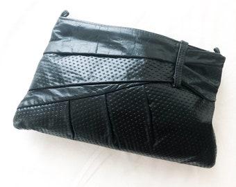 Vintage Large Black Leather Asymmetric Bow Clutch