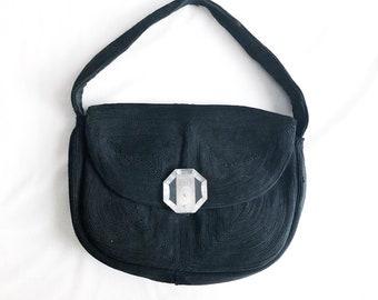 Vintage 40s Black Corde Handbag Pochette with Carved Lucite Clasp