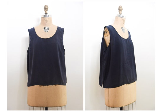 Vintage 90s Silk Tank | vintage navy blue silk tan