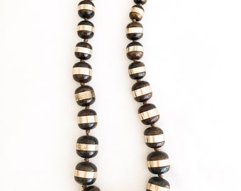 Vintage Brown and Brass Large Beaded Necklace