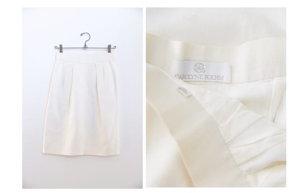 Vintage Carolyn Roehm Off White High Waisted Skirt