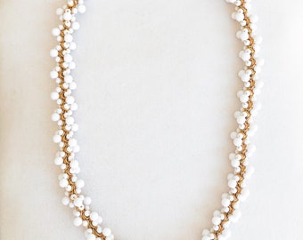 Vintage 60s White Beaded Bauble Cluster Necklace