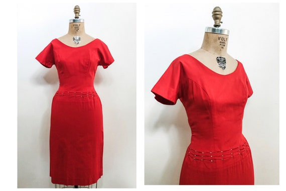 Vintage 50s Wiggle Dress / Siren Red Teena Paige F