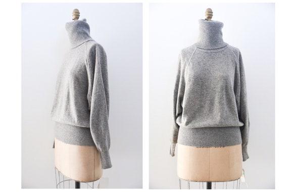 Vintage Grey Cashmere Dolman Sleeve Turtleneck Swe