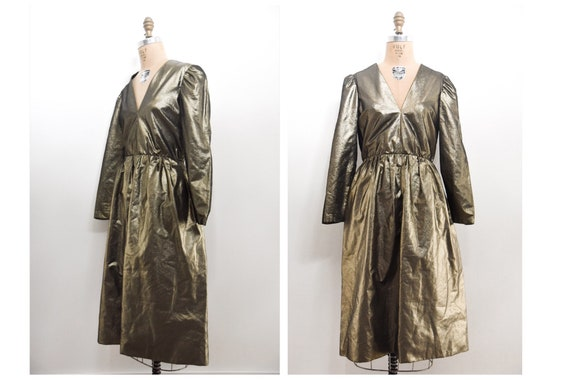 Vintage 80s 1980s Gold Dress | Puff Sleeve Cocktai