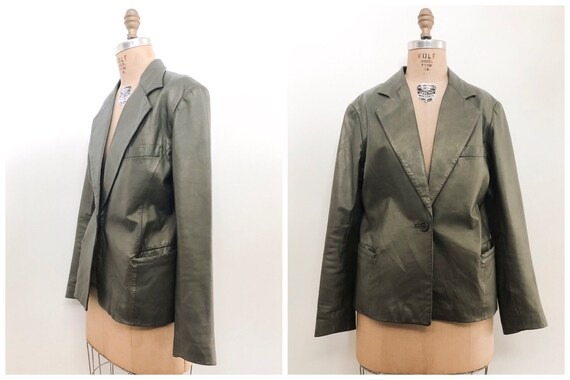 Vintage 80s Olive Green Leather Blazer / green lea