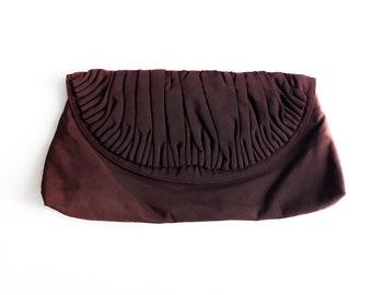 Vintage 40s Chocolate Bar Brown Pleated Rayon Faille Clutch Handbag