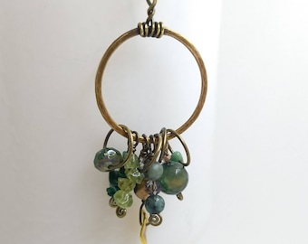 Hammered Brass and Gemstone Charm Necklace