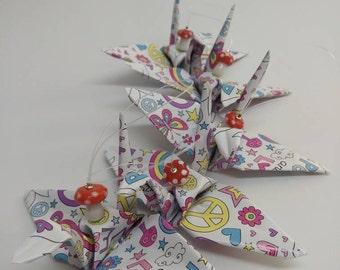 Set of 5 ornaments, origami crane swan peace theme, vinyl paper, Christmas, nursery decor, hand folded, glass mushroom