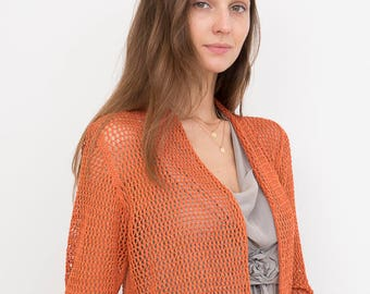 Bamboo Knit Cover-Up: Orange