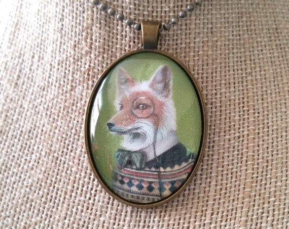 "Fox Pendant, Dapper Fox with Monocle Jewelry, Fair Isle Sweater Large Glass Oval Cameo Necklace, ""Oliver"""