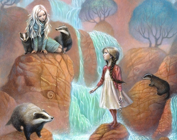 "Girls by Waterfall Art, 11x17 Badgers Fine Art Print, Encounter in Forest Painting,  ""Cascades"""