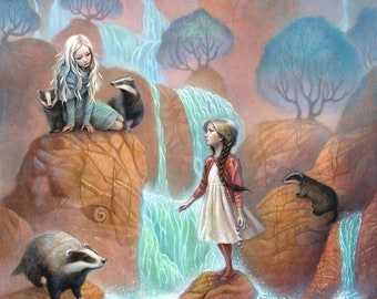 """Girls encounter in magical forest by waterfall with badgers fantasy art painting 11x17 wall art print,  """"Cascades"""""""