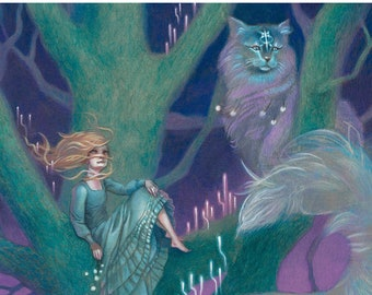 """Girl with Forest Cats in Tree Fantasy Art, 11x17 Spirit Animal Painting, Magical Cats Fine Art Print - """"Glaring Tree"""""""