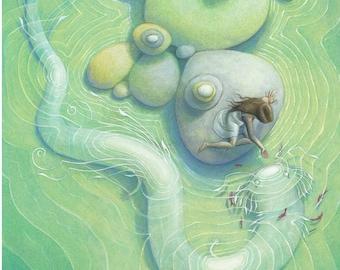 "Water Serpent Axolotl Fantasy Art, 11x17 Sea Monster Fine Art Print, Whimsical White Sea Dragon Painting - ""Shallow Waters"""