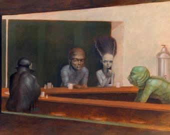 Universal Monsters in Nighthawks parody painting 16x12 wall art print w/ Dracula, Wolfman, Bride of Frankenstein, Creature from Black Lagoon