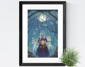 """Girl with Wolves Spirit Animal Art, 11x17 Magical Forest Fantasy Art Painting, White Hair Witch Fine Art Print,  """"Pathfinder"""""""